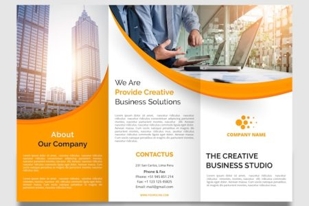 Brochure Vectors  Photos and PSD files   Free Download Professional wavy trifold brochure