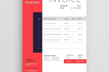 Invoice Vectors  Photos and PSD files   Free Download Red business invoice template design