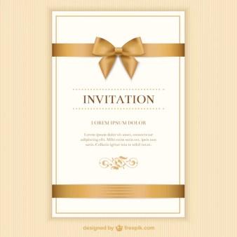 Retro Invitation Card With A Ribbon