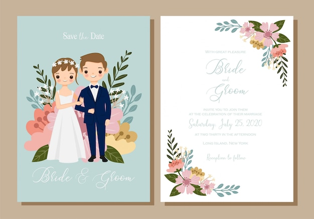 Beautiful save the date wedding invitation template. Premium Vector Save The Date Cute Couple Cartoon For Wedding Invitation Card Set