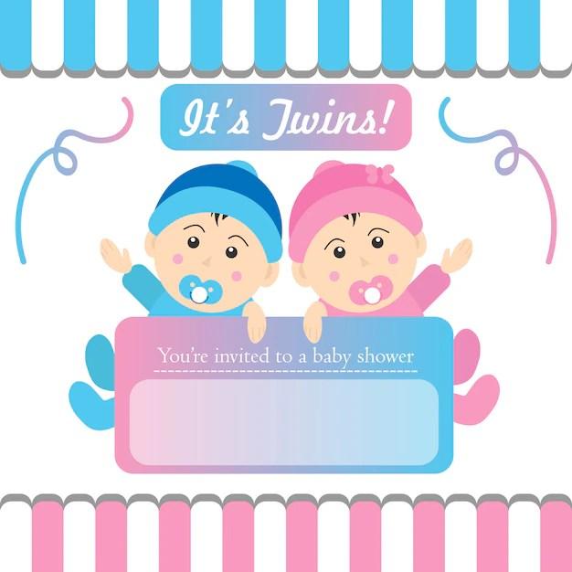 baby twins birthday invitation concept