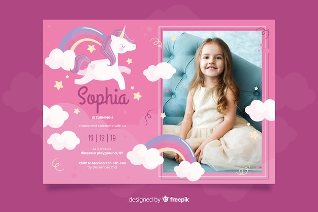 unicorn birthday invitation template