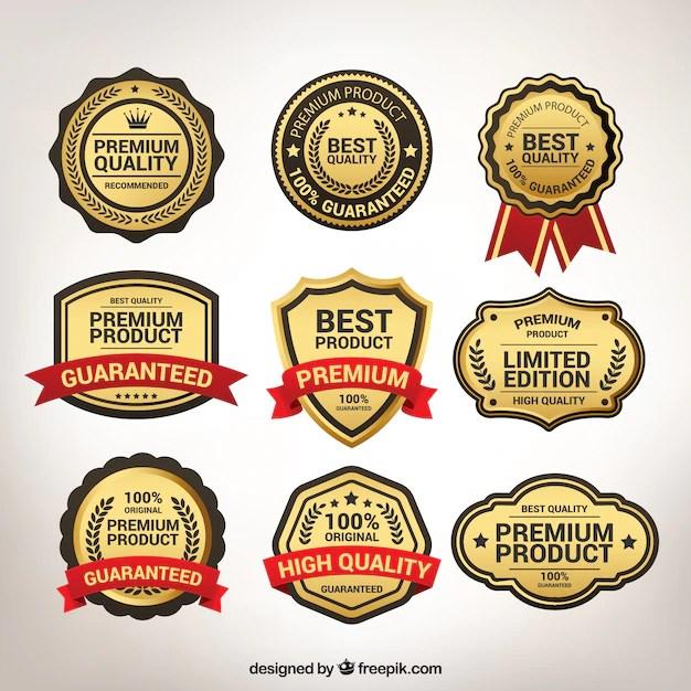Various Vintage Golden Premium Stickers