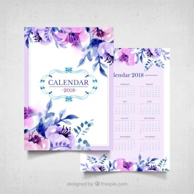 Violet Flower Vectors  Photos and PSD files   Free Download Vintage calendar of watercolor flowers in purple tones