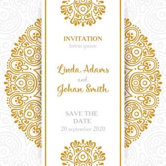 Vintage Wedding Invitation With Mandala