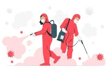 Virus disinfectionconcept illustration