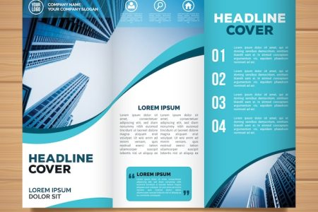 Trifold Brochure Vectors  Photos and PSD files   Free Download Wavy trifold business brochure template
