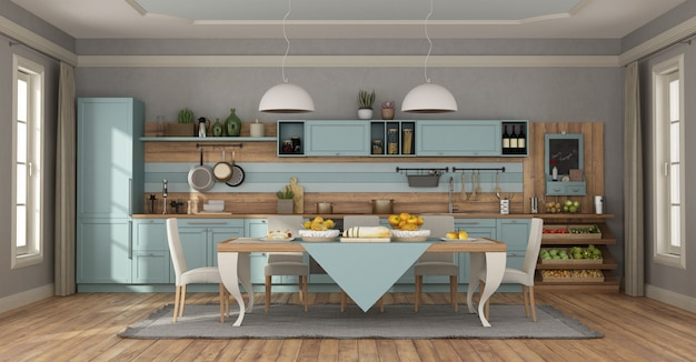 cuisine classique bleu clair photo