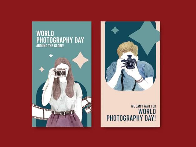 Journée Mondiale De La Photographie Avec Film Et Appareil Photo | Vecteur  Gratuite
