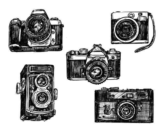 appareils photo vintage vecteur premium