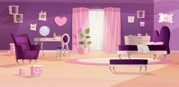 couleurs roses et violettes dessin