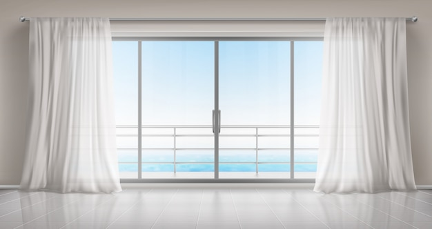 salle vide avec porte vitree sur balcon