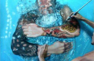 [畫作工藝]超逼真游泳畫作