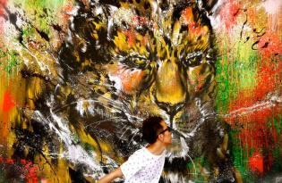 [創意畫作]畫圖男的潑墨塗鴉