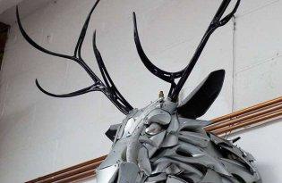 [裝置藝術]廢棄輪胎蓋金屬雕塑創作