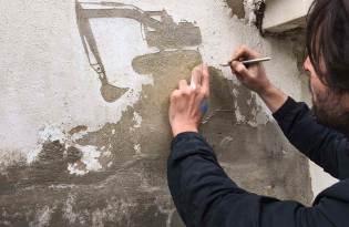 [文創設計]水泥牆壁刮裝置藝術