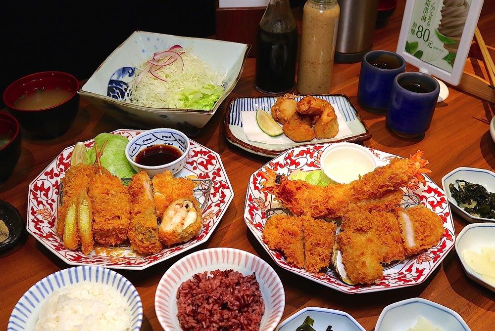 銀座杏子日式豬排-台南西門店:繽紛海陸雙人餐-季節限定套餐,一次吃到香酥炸豬排和超大牡蠣、巨大軟殼蝦,給你大滿足~