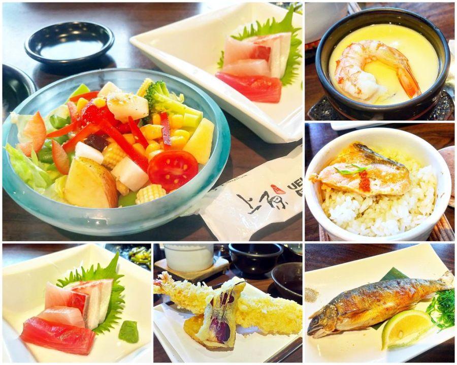 (台南。安平區美食)上原日本料理:中午限定的日式料理套餐,只要350元就能吃到生魚片&烤香魚&炸蝦天婦羅等七道經典料理,讓你撐著肚皮走出店!