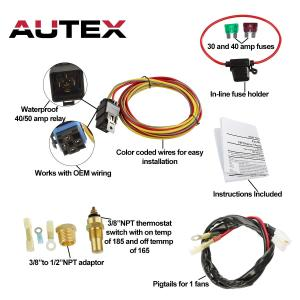 185 Degree On 165 Off Electric Cooling Fan Wiring Thermostat 40 amp Relay Kit 192840006820   eBay