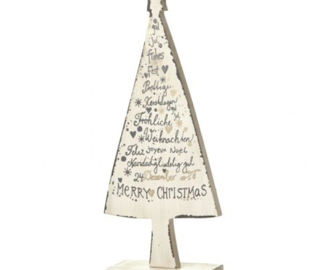 Decorative Wooden Christmas Tree Decoration With Festive Script