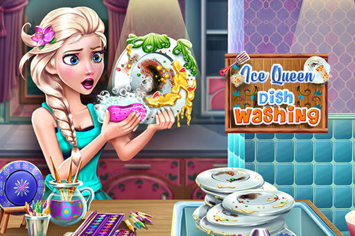 لعبة غسيل أطباق ملكة الثلج