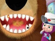 Jeu de dentiste fille et ours