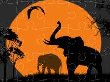 大象剪影拼图