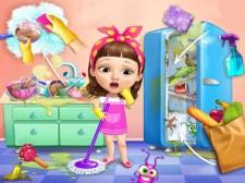 可爱的女婴清理凌乱的房子