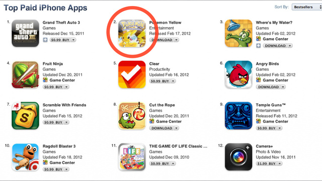 Bogus Pokémon Yellow Game Is Now Number Two on the Apple App Store