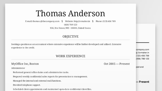 cv maker creates beautiful professional looking resumes online in - How To Do Your Resume Online For Free
