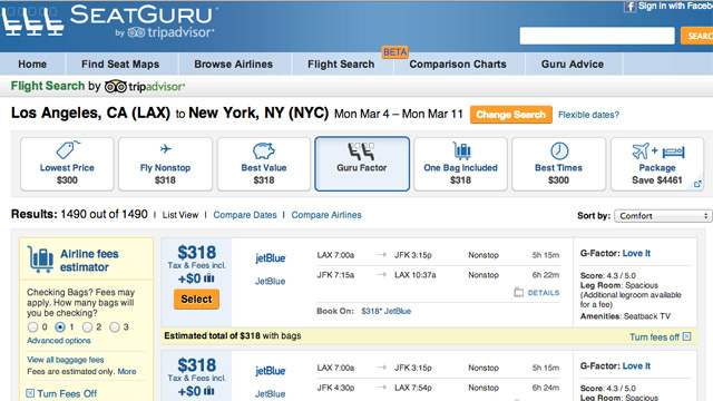 Click here to read SeatGuru Now Offers Flight Searches, Tells You If You'll Love a Flight or Not