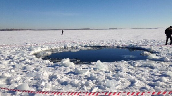 Here Is One Of The Impact Sites Of The Russian Meteor