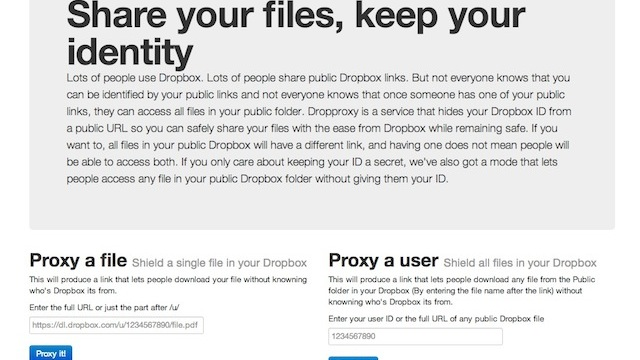 Dropproxy Hides Your Dropbox Username from Public Files