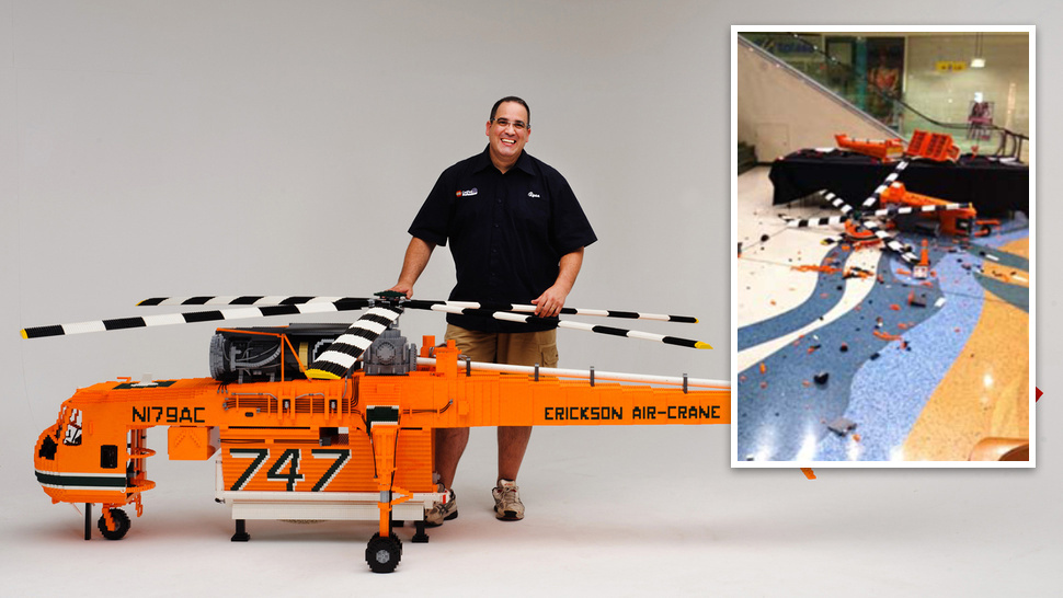 Young Imbeciles Destroy Largest Lego Helicopter Ever