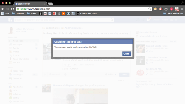 Looks Like Facebook Is Broken Right Now (Updated: It's Back!)