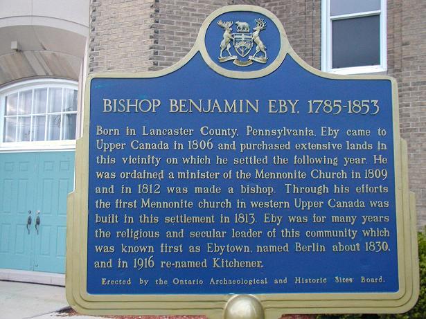 """BISHOP BENJAMIN EBY"""" - Kitchener - Ontario Provincial Plaques on  Waymarking.com"""