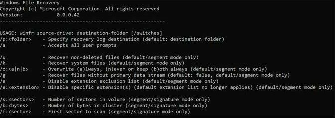 Windows File Recovery is run from the command line.