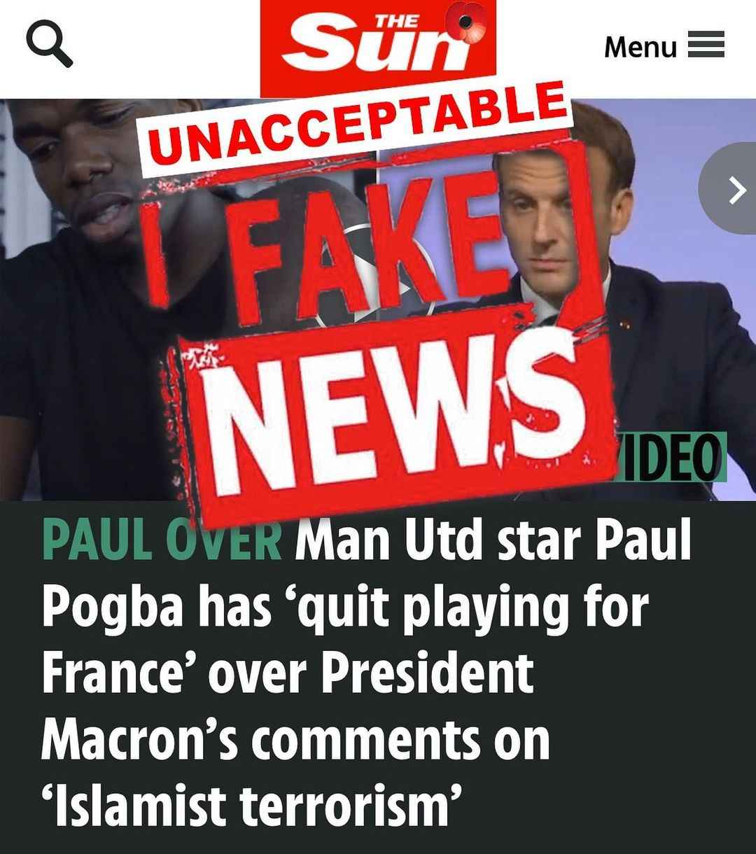 FAKE NEWS: Paul Pogba Blasts The Sun UK For Claiming He Had Quit French Soccer Team 1