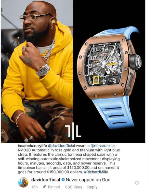 Davido Gifts Himself A Richard Mille Wristwatch Worth $300,000 For Birthday 1