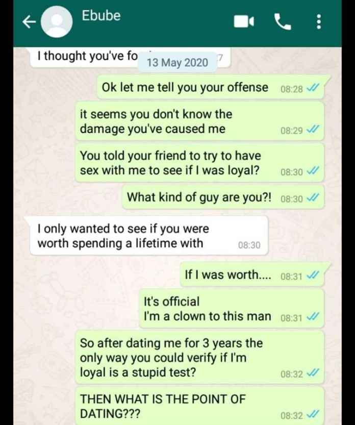 Lady Breaks Up With Her Boyfriend Of 3 Yrs After He Asks His Friend To try To Sleep With Her (Chats)