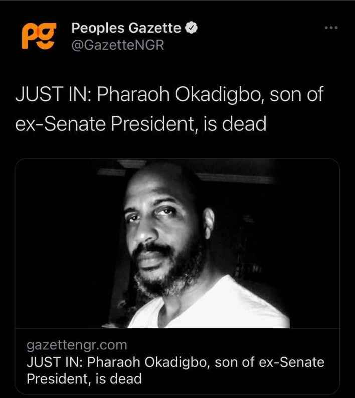 JUST IN! Son Of Late Senate President, Chuba Okadigbo Dies In A Fatal Road Accident (Photos) 2