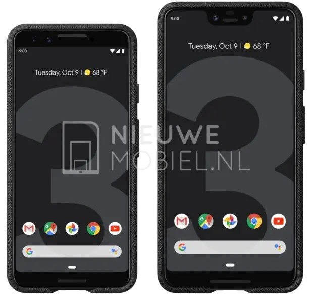 O Google Pixel 3 e 3 XL mostram-se em render de imprensa 1