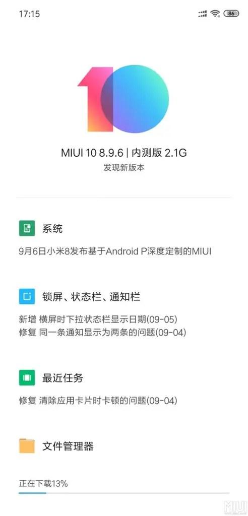 MIUI 10 Beta baseado em Android 9 Pie lançado para Xiaomi Mi 8 1