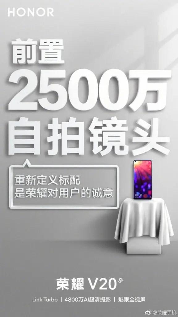Honor V20 posters revelam que vai ter uma bateria enorme e uma câmera selfie impressionante 2