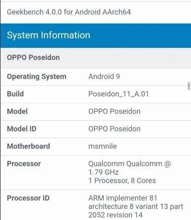 OPPO Poseidon com SD 855 descoberto no base de dados Geekbench 4