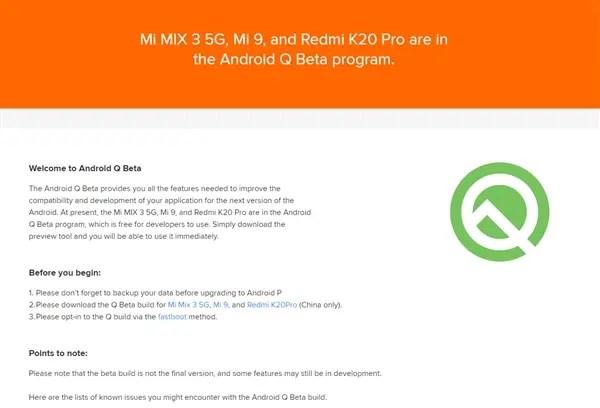 Android Q Beta no Redmi K20 Pro