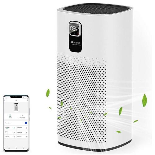 Proscenic A9 Smart Air Purifier LED Digital Display Adjustable Wind Speed APP Control, Remove 99.97% Dust, Pet Dander, Smoke, Pollen, Odor - White