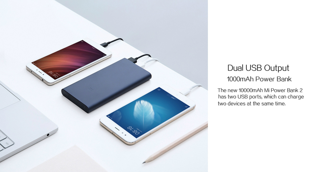 New Xiaomi Power Bank 2 10000mAh Silver