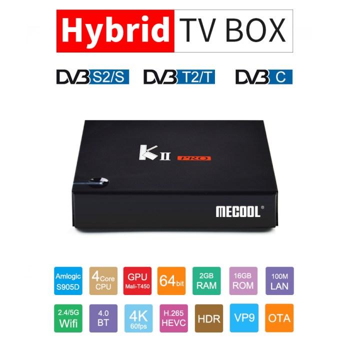 MECOOL KII PRO Hybird STB DVB-T2 DVB-S2 DVB-C Android 7.1 Amlogic S905D 2GB/16GB TV BOX 802.11AC WIFI LAN KODI Bluetooth