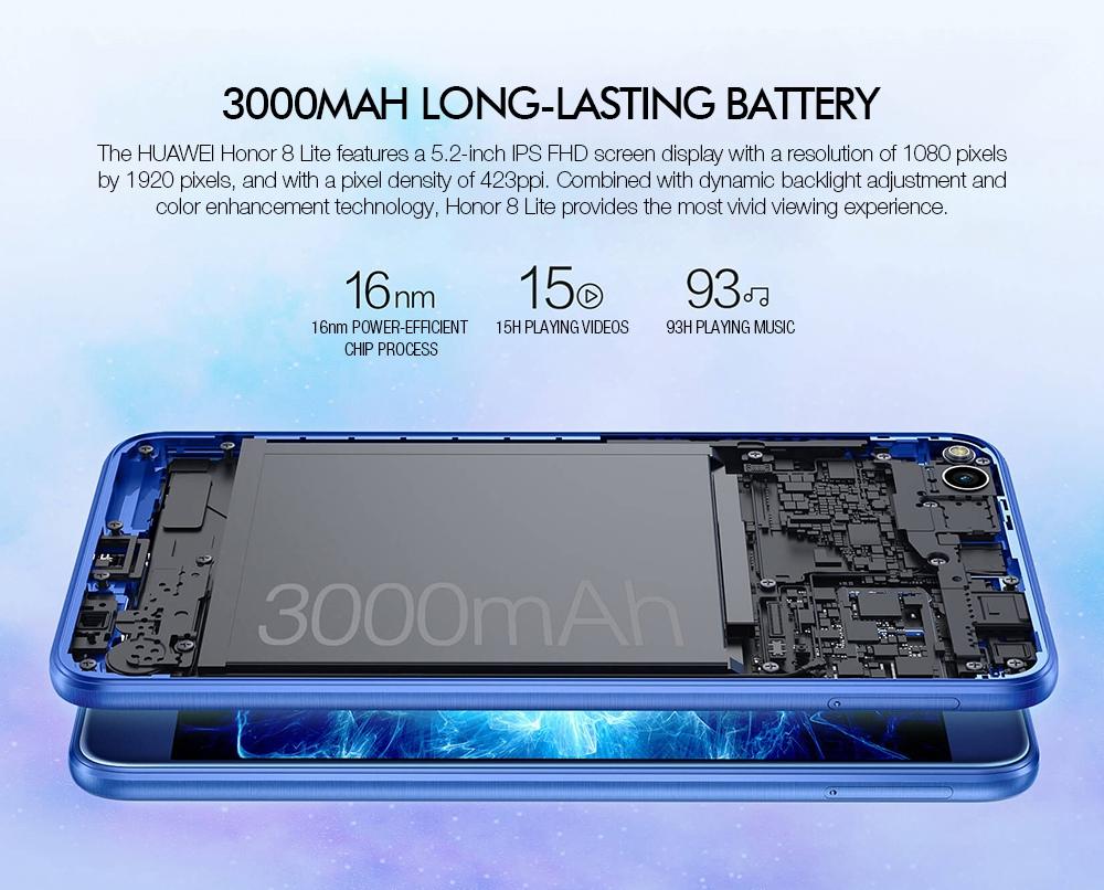 huawei honor 8 lite 5 2 pouces smartphone ecran fhd 4gb 64gb hisilicon kirin 655 octa core cameras 12 0mp 8 0mp android 7 0 2 5d verre double face